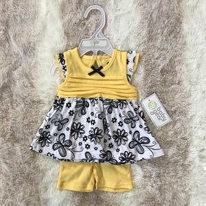 Baby Gear 2 piece black and yellow short set